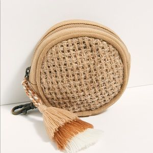 Free People Jute Woven Coin Pouch NWOT